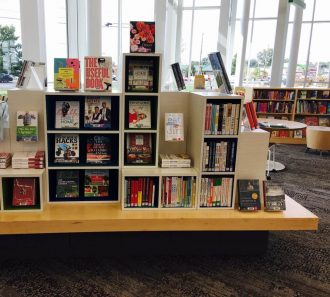 Bookshelf display with books facing out