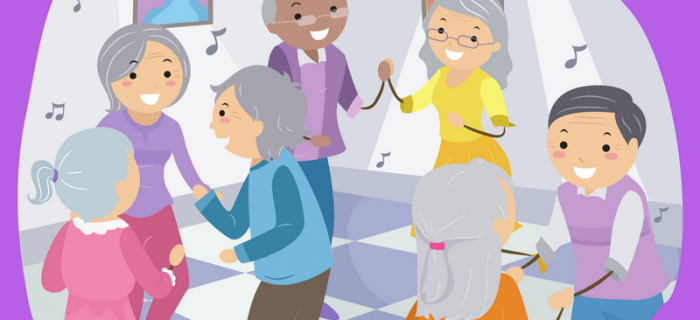 illustration of seniors involved in musical activity