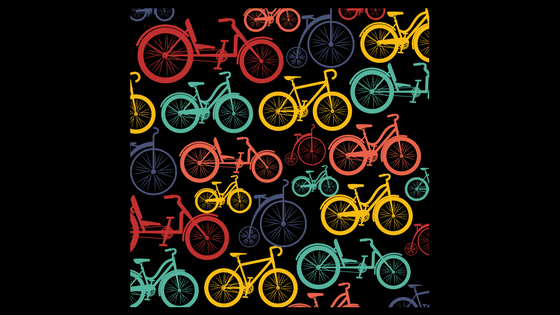 illustration of multi-colored bicycles