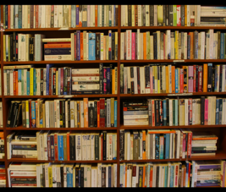 photo of packed book shelves