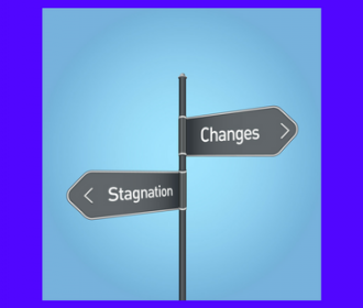 signpost with one sign pointing in opposite directions one reads changes and the other stagnation