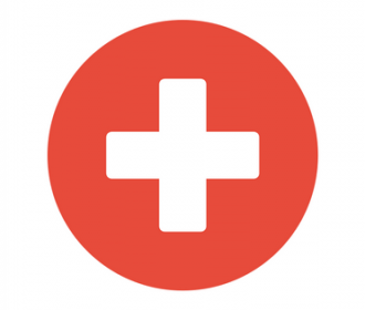 White cross on red background (medic symbol)