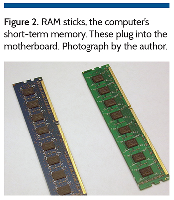 Figure 2. RAM sticks, the computer's short-term memory.