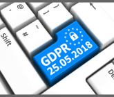 computer keyboard with one key GDPR in blue with the date 25/05/18 and an image of a lock
