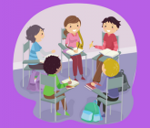 illustration of teens in a circle at desks