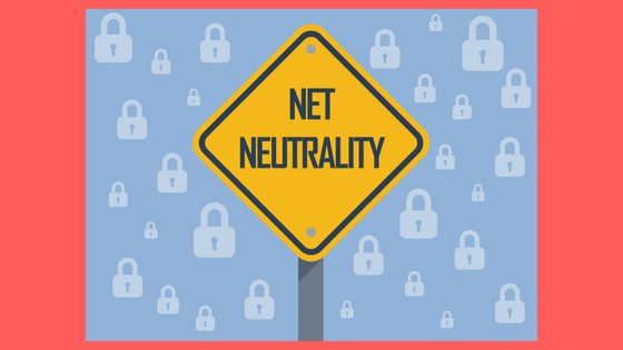 yield road sign that says net neutrality background of small white padlocks