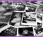 a group of black and white snapshots on a purple background