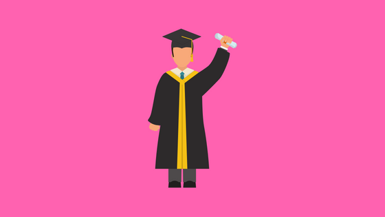 illustration of a figure in a cap and gown holding a diploma-like scroll