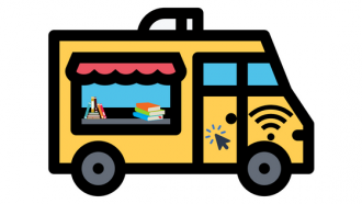 illustration of mobile library