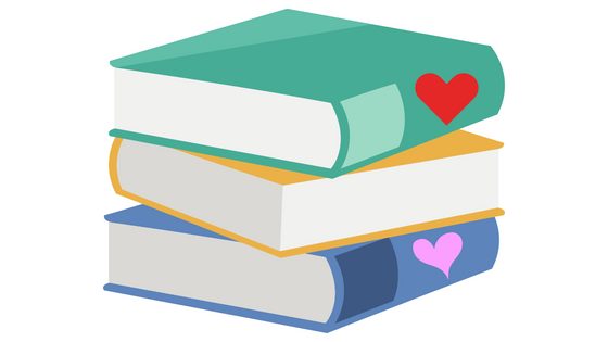 illustration of stack of books with hearts on bindings