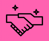 illustration of a handshake black on a pink background