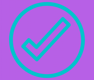 blue check mark on purple background