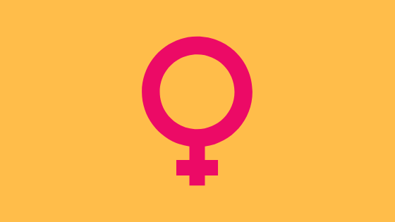 the symbol for female pink on an orangish background