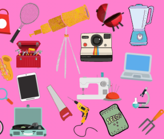 illustrations of various items that libraries are now lending (seeds, tools, sewing machines, etc.)