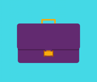 illustration of a purple briefcase on a blue background