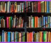 colorful book shelves