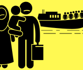 Illustration of two people holding a baby and suitcases with a boat filled with people in background