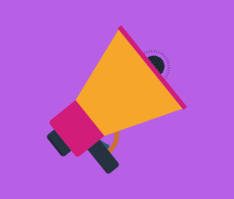 yellow and pink megaphone on purple background (illustration)