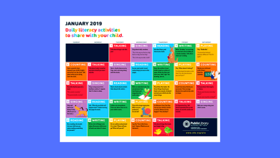 PLA Early Literacy Calendar image