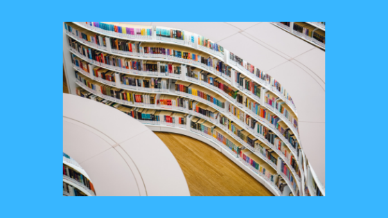 photo of a library with curving book stacks