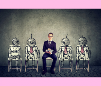photo of a person sitting in a chair surrounded by robots