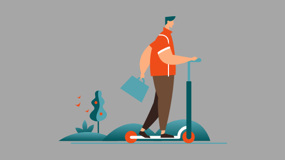 illustration of man on a stand-up scooter with a briefcase stylized trees and hills in background