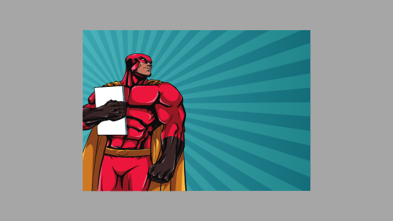 illustration of a superhero figure holding a book