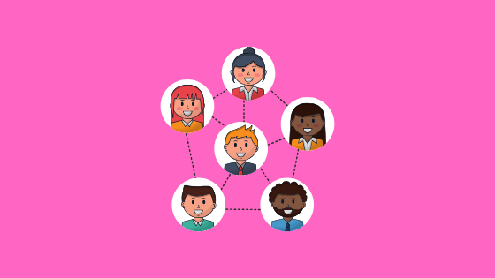 illustration of six faces connected by lines (networking)