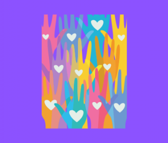 illustration of hands reaching up with hearts on them