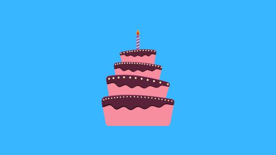 illustration of a pink and brown cake with one candle on top