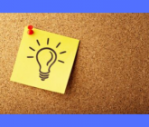 Post it note feature a light bulb (signifying bright idea) tacked to a bulletin board