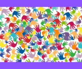 multi-colored handprints