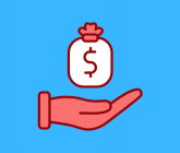 illustration of a white bag with a dollar sign on it above a red hand