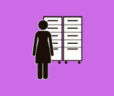 illustration of a person standing in front of a file cabinet