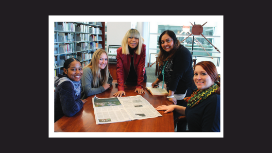 photograph of Akilah Blount, Liv Ricketts, Valerie Bell, and Simone Moonsammy, all persons who worked on this project.
