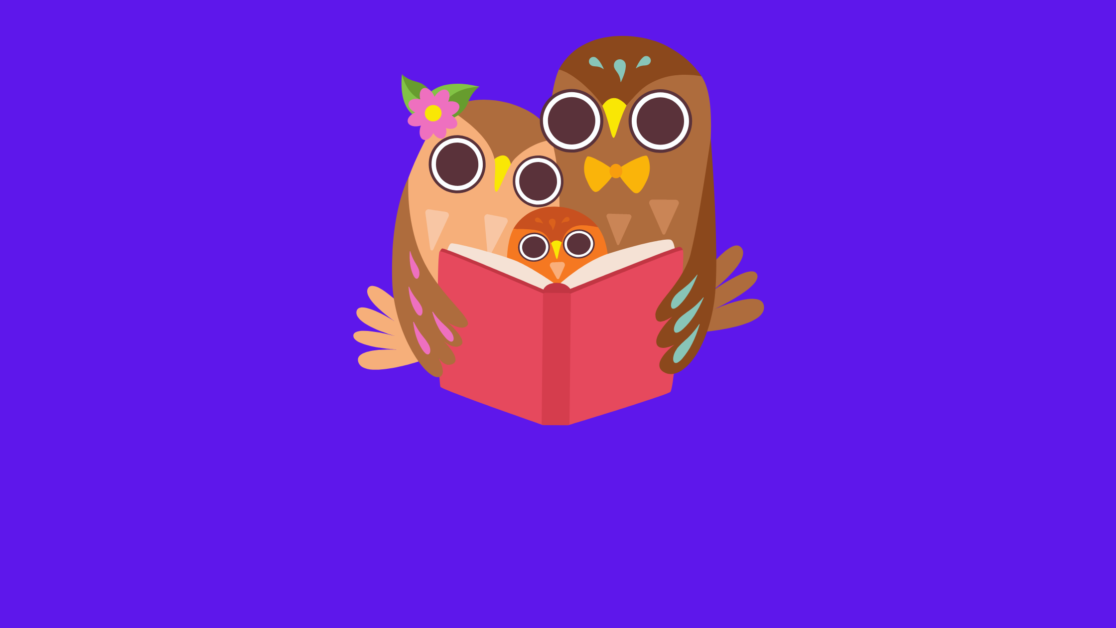 illustration of three owls (a family) reading