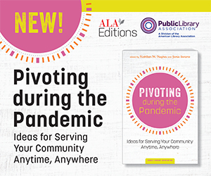 "Ad for an ALA/PLA book, ""Pivoting During the Pandemic"""