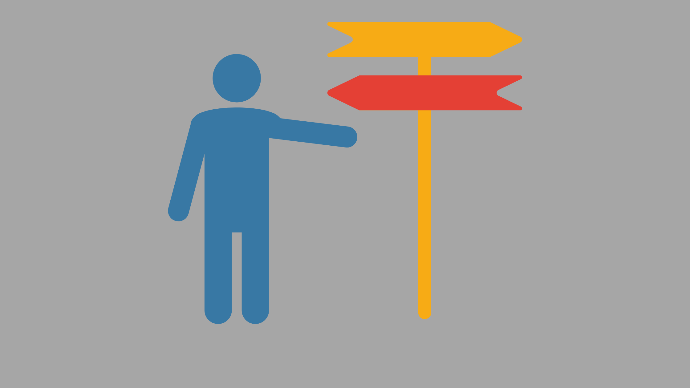 illustration of a blue figure and a sign with two arrows pointing in different directions