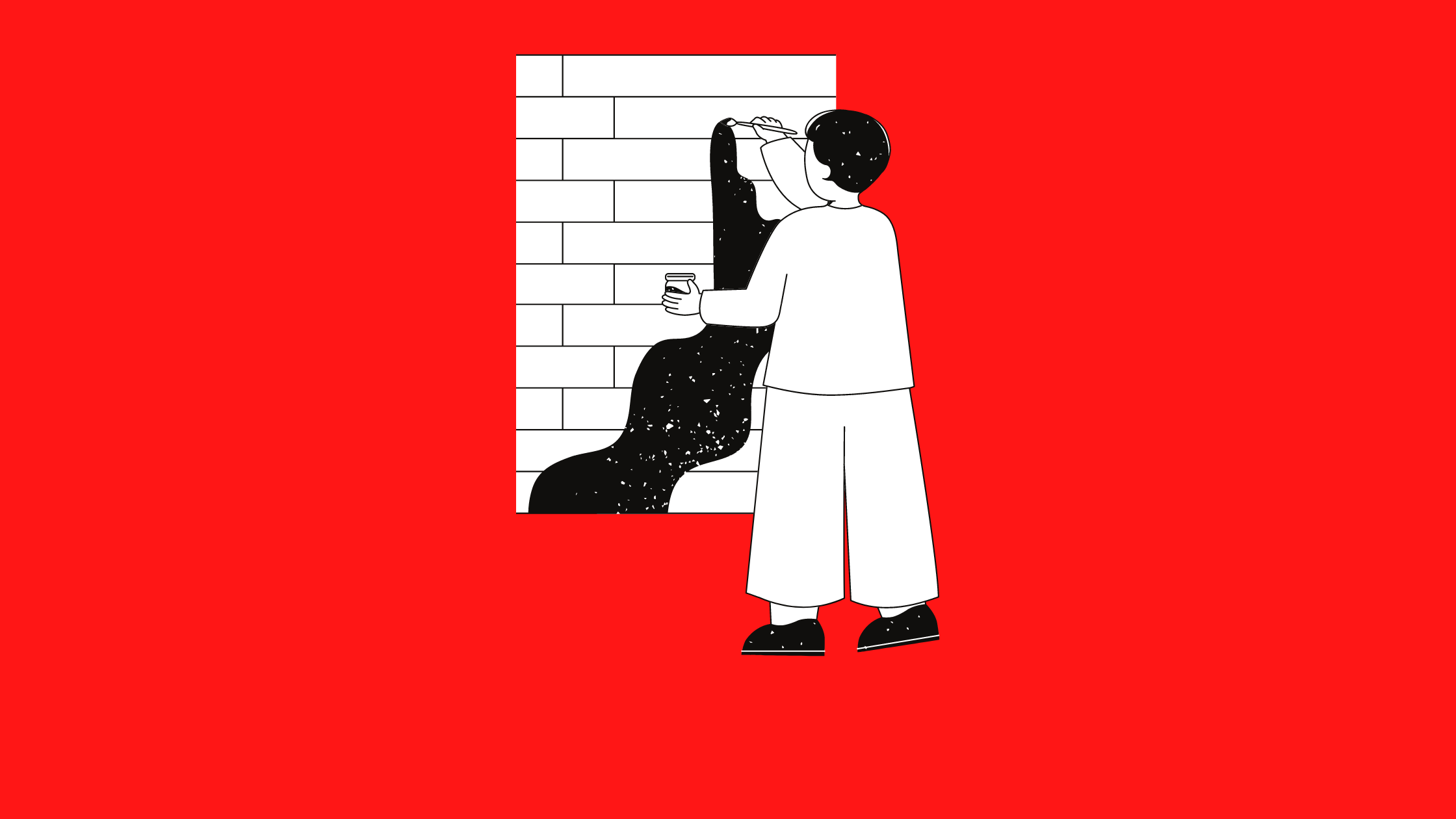 black and white illustration of a person painting on a brick wall set against a red background