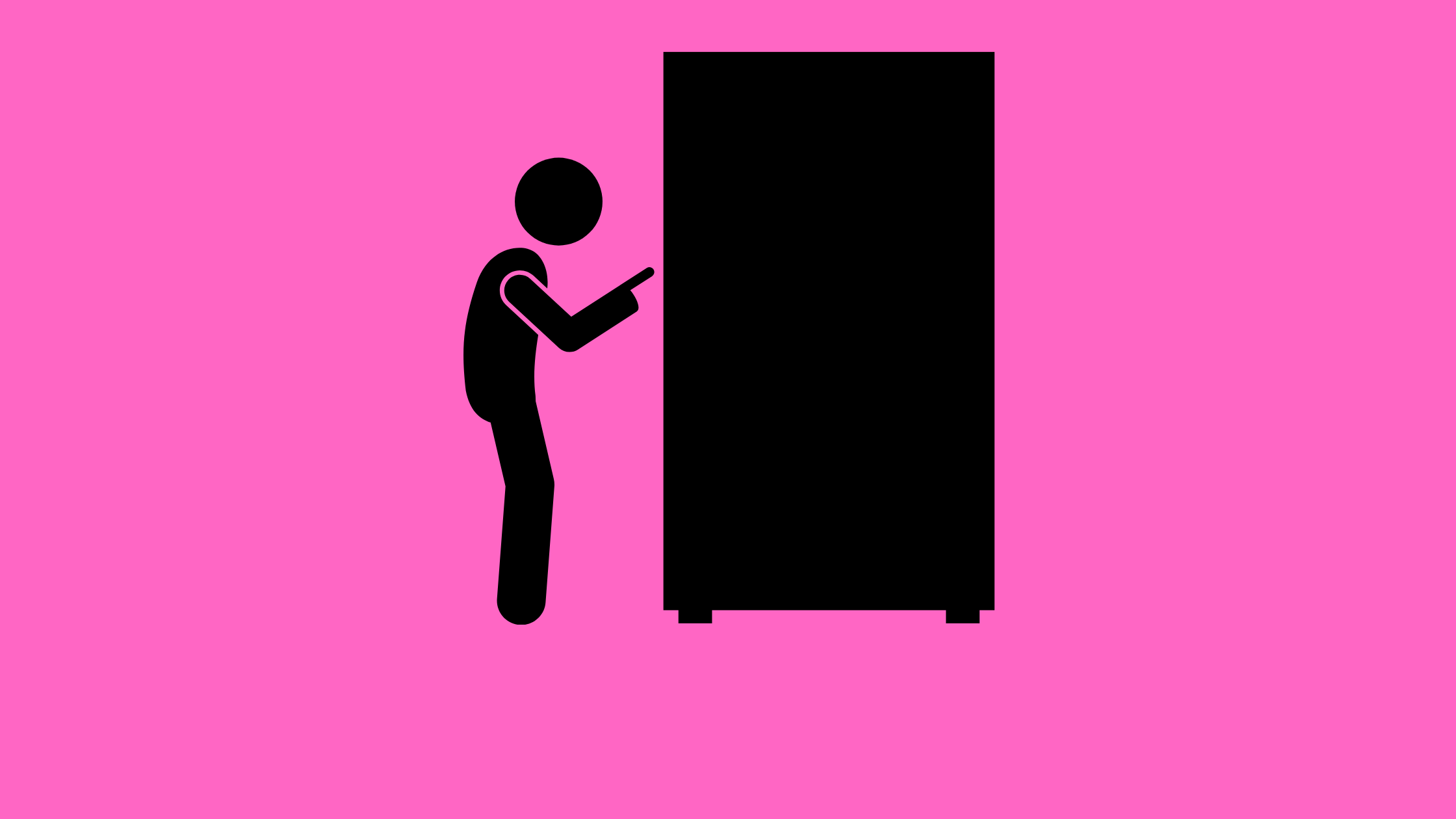illustration of a person pressing a button on a vending machine