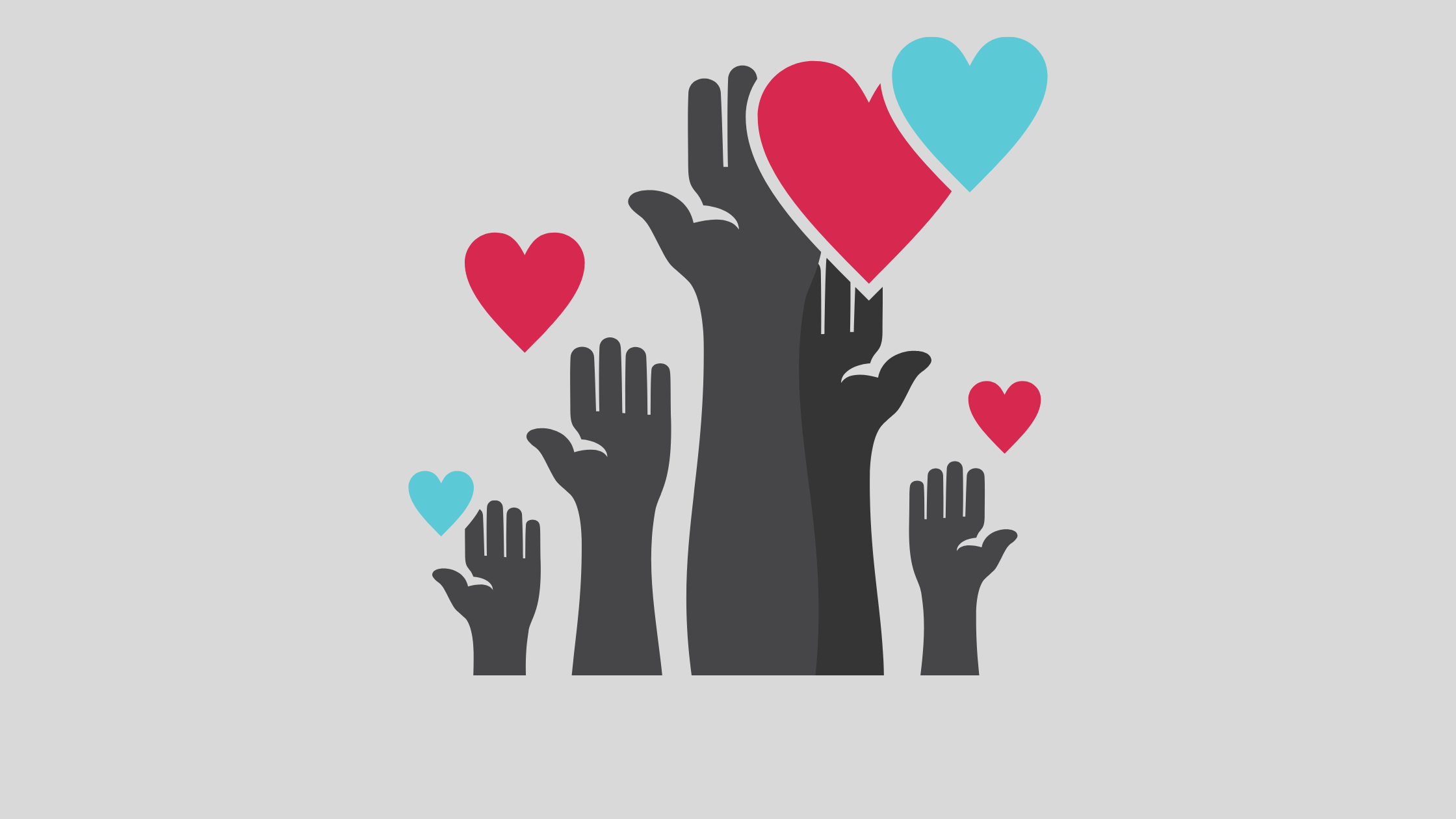 several hands reaching up with hearts