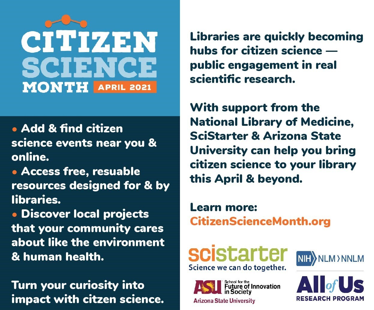 Advertisement for Citizen Science Month April 2021