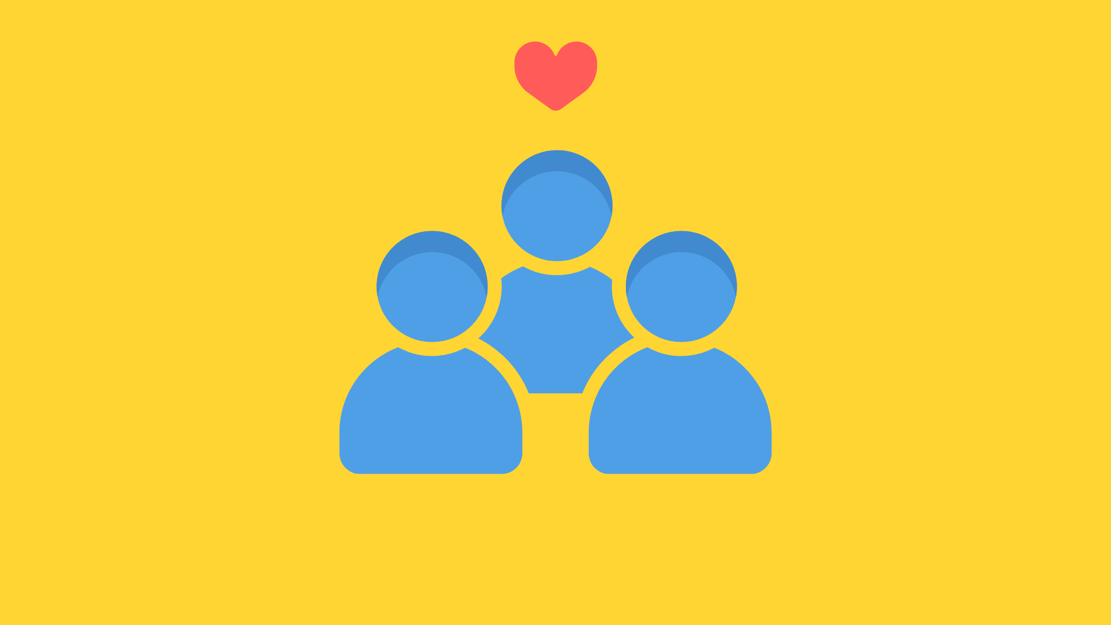 three blue figures with a red heart above them on a yellow background meant to show care for library staff