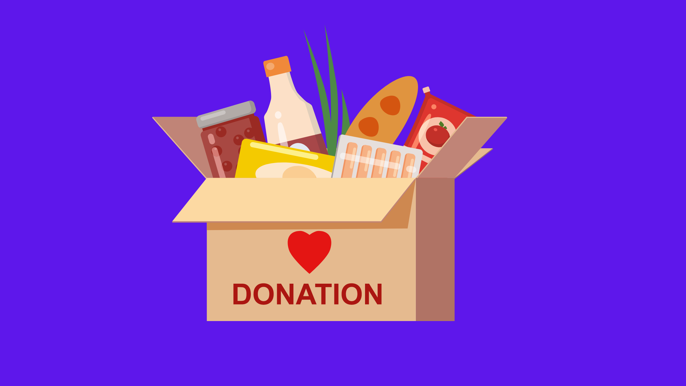 illustration of a food donation box with food sticking out of the top