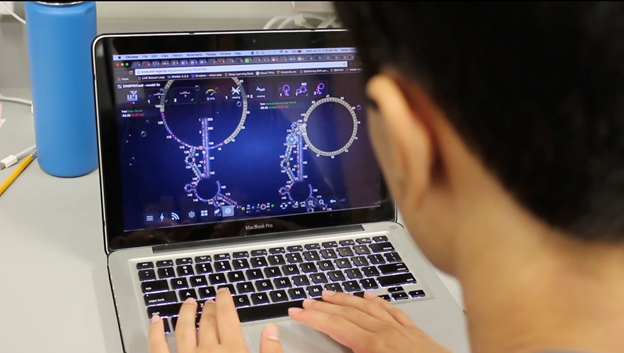 A person sitting at a desk playing EteRNA on a laptop.