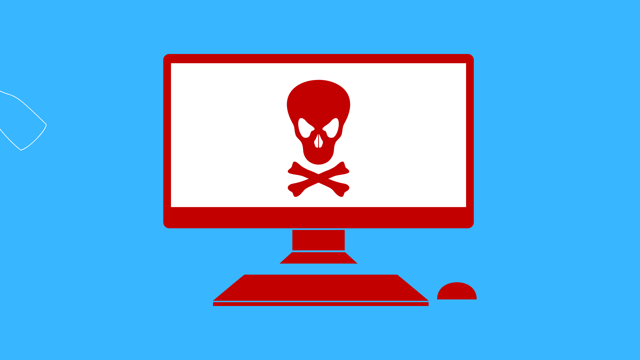 illustraton of red computer screen with skull and crossbones