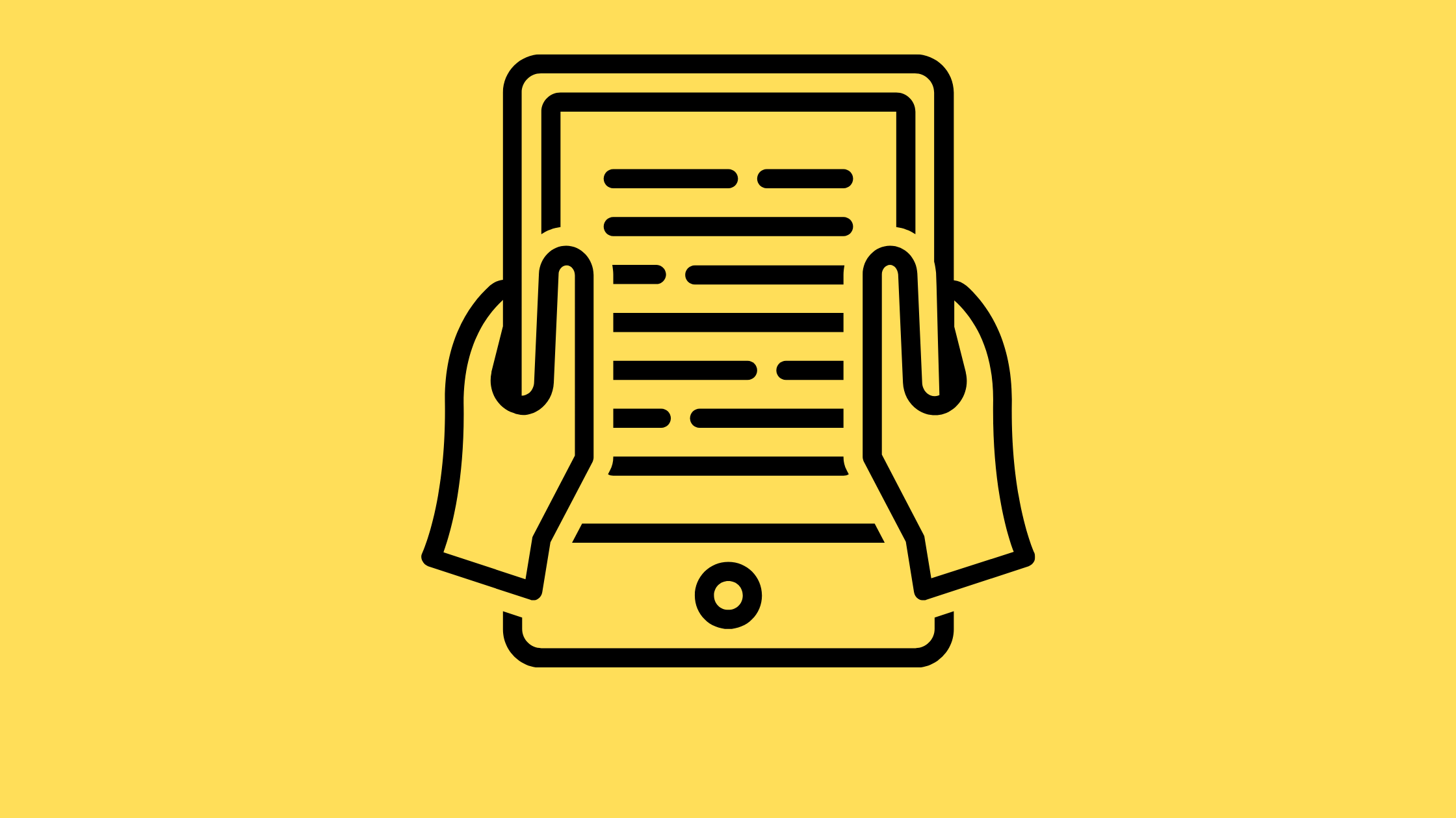 illustration of two hands holding an e-reader black on yellow background
