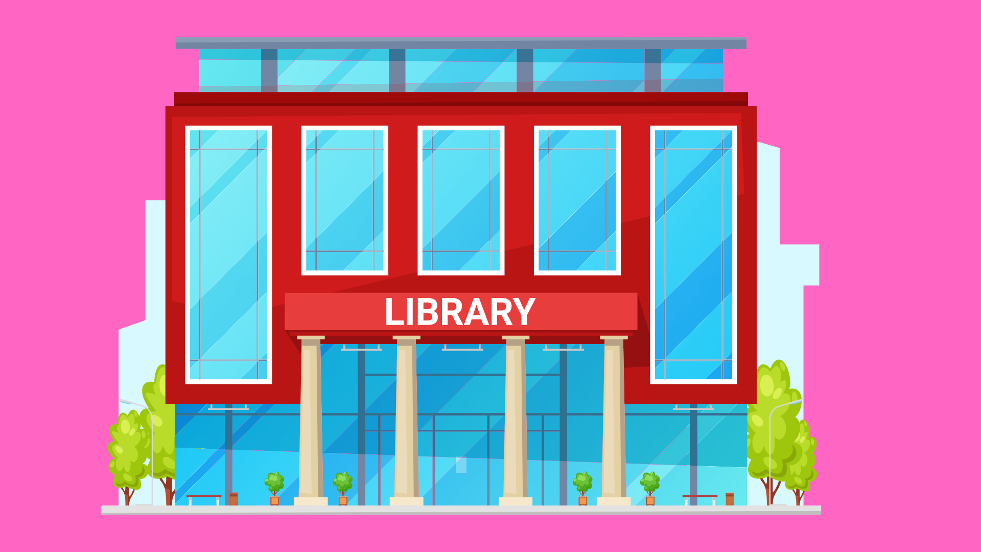 illustration of a library building