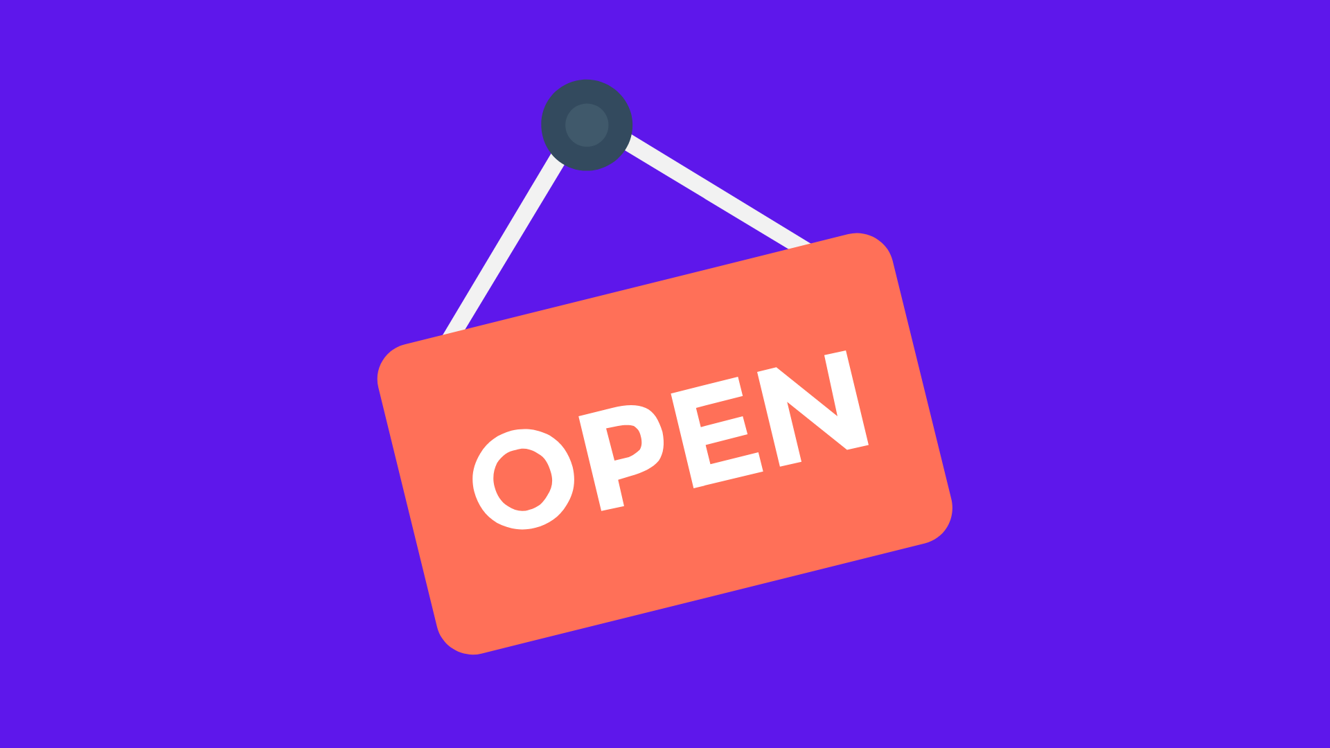 red open sign on blue background