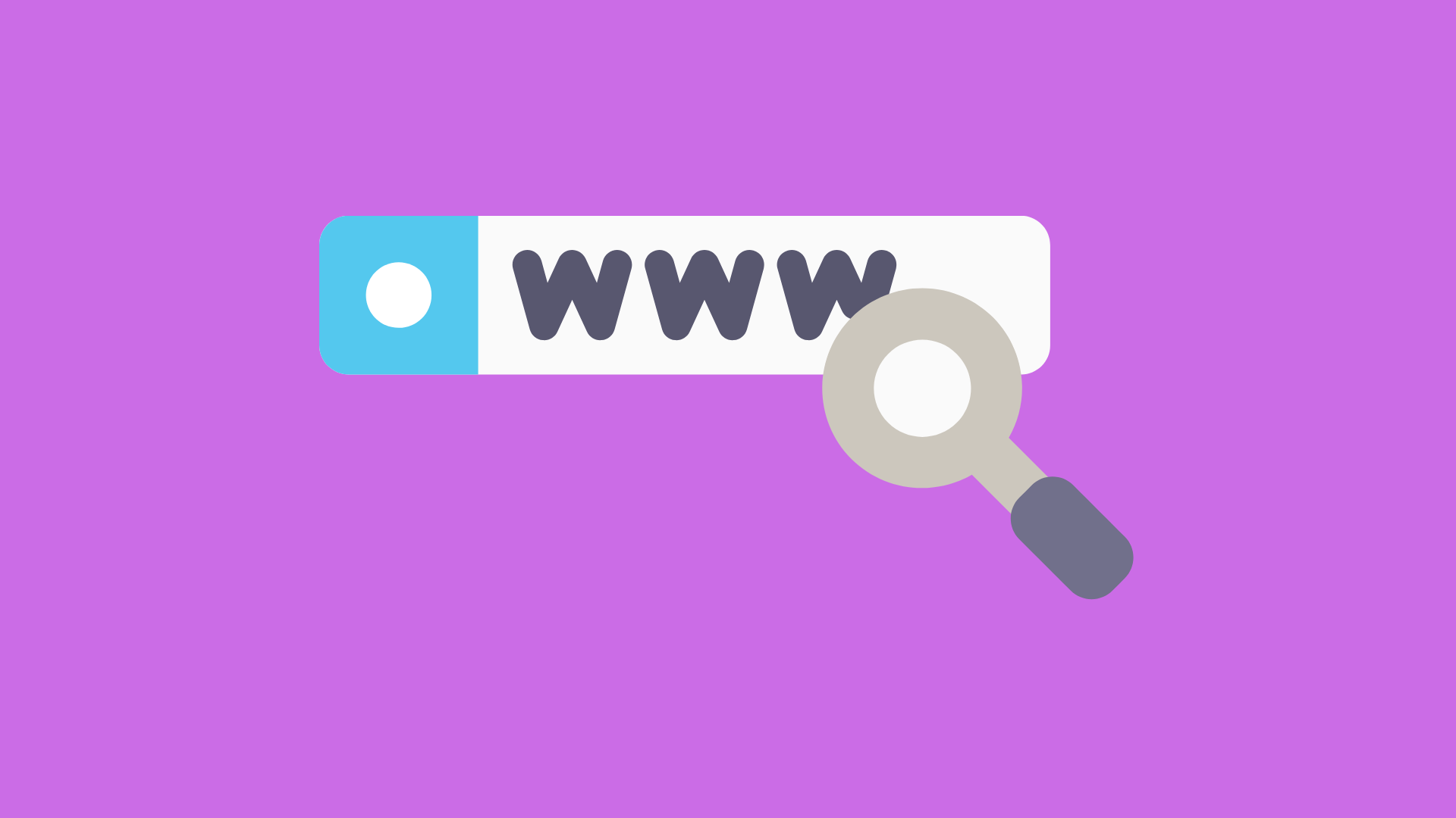 illustration of a magnifying glass over a url